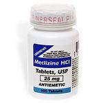 Meclizine HCl USP 25 mg Antiemetic Tablets 100 ea