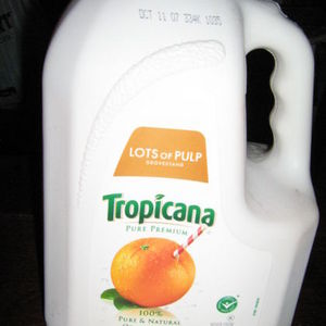 Tropicana Pure and Natural orange juice. lots of pulp
