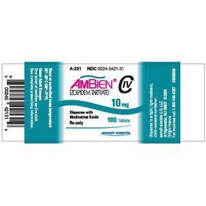 Ambien Zolpidem Tartrate Medication