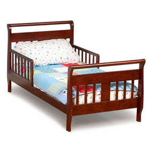 toddler sleigh bed frame childrens bedroom furniture kids boys girls cherry wood ebay. Black Bedroom Furniture Sets. Home Design Ideas