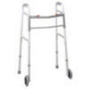 "Medline Two Button Folding Walker with 5"" Wheels, 300 Lb. Capacity, Adult, Height 34 38"""