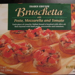 Trader Giotto's Bruschetta with Pesto, Mozzarella and Tomato