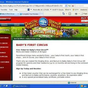 Ringling Brothers Barnum & Bailey FREE circus ticket offer for babies under 1