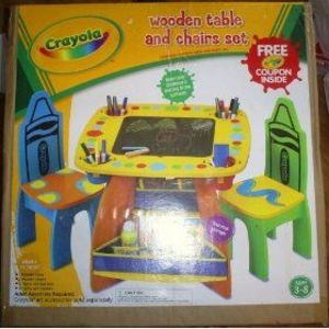 Crayola Wooden Art Table and Chair Set : crayola chair and table set - pezcame.com