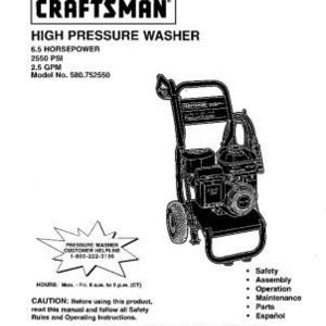 Craftsman 580.752550 High Pressure Washer
