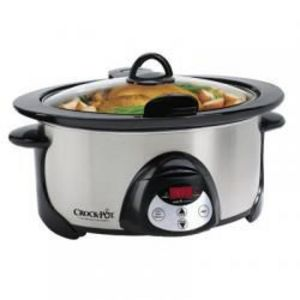 Rival 5 qt black and silver crock pot