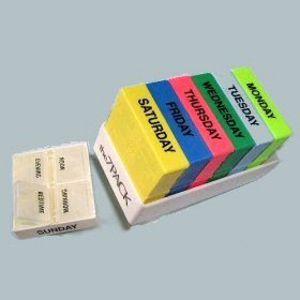 ICS 7-Day Pill Box Organizer; 4 Compartment White Tray