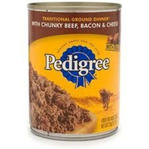 Pedigree Meaty Ground Dinner with Chunky Beef, Bacon & Cheese Canned Food