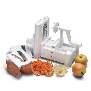 World Cuisine A4982799 Tri-Blade Plastic Spiral Vegetable Slicer