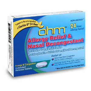 Ohm Allergy Relief and Nasal Decongestant Tablets