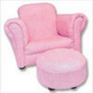 Trend Lab 107003 Pink Suede Stuffed Chair and Ottoman