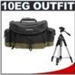 Canon 10EG Digital SLR Camera Case Gadget Bag + Deluxe Tripod for EOS Rebel XT, XTi, XS, XSi, T1i, 5...
