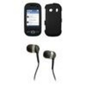 Samsung Seek M350 Premium Rubberized Blue Snap-on Case Cover Cell Phone Protector + Black 3.5mm Stereo Hands-free Headphones for Samsung Seek M350