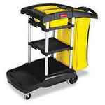 Rubbermaid High Capacity Cleaning Cart Black Plastic/Yellow Accents