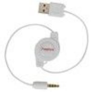 Retractable USB to 1/8-inch Headphone Input Apple iPod Shuffle Transfer Sync Cable - Color White