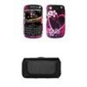 Blackberry Curve 8520 / 8530 Premium Multi Color Groove Bubbles Design Case Cover SnapOn Protector + Leather Case Side Pouch for Blackberry Curve 8520 / 8530
