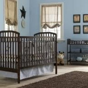 Nursery 101 Babies Room Basics Baby Crib and Changing Table Set, Dark Walnut