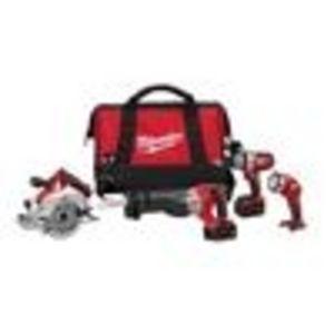 Milwaukee 2690-24 18-Volt Hammer-Drill, Sawzall Reciprocating Saw, Circular Saw, and Worklight Combo Kit