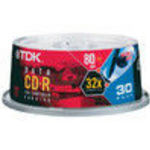 TDK (CDR80NCB30TG) (CD-R80HSCB30) 52x Spindle (30 Pack)