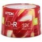 TDK (DHCDR80KXCB50T) 52x CD-R Storage Media (50 Pack)