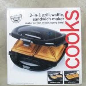 Cooks 3-in-1 Grill/Waffle/Sandwich Maker