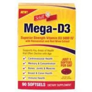 Schiff Mega-D3 with Reservatrol & Red Wine Extract