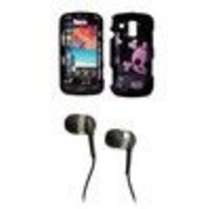 Samsung Rogue U960 Premium and Bow Skull SnapOn Case Cover Protector + 3.5mm Stereo Hands- Headphones for Samsung Rogue U960