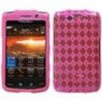 Blackberry Storm2 9550 Hot Pink Argyle Pane (Semi Transparent) Premium Candy Skin Phone Protector Cover Case