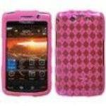 Blackberry Storm2 9550 Hot Pink Argyle Pane (Semi Transparent) Premium Candy Skin Phone Protector Cover Case