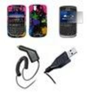 Blackberry Tour 9630 - Premium Multi Color Paint Splatter Design SnapOn Cover Hard Case Protector + Crystal Screen Protector + Rapid Car Charger + USB Data Char