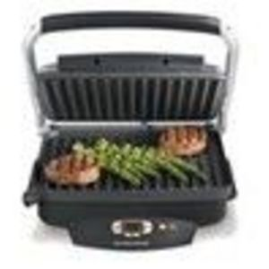 Hamilton Beach 25331 Steak Lover Indoor Grill - 100 Squre Inch Grilling Surface, Searing Function, Removable Drip Tray, Black