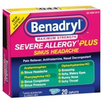 Benadryl Severe Allergy Plus Sinus Headache Relief Caplets