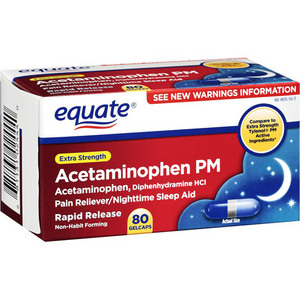 Equate PM Extra Strength Pain Reliever/Nighttime Sleep Aid