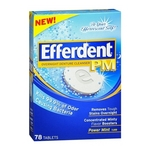 Efferdent PM Overnight Denture Cleanser Tablets Power Mint