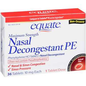 Equate Maximum Strength Non-Drowsy Nasal Decongestant PE