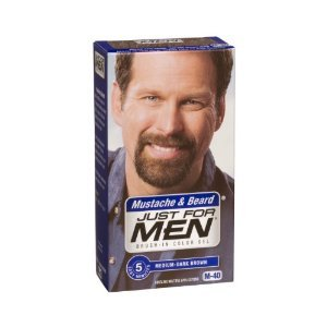 Just For Men Brush-In Color Gel for Mustache, Beard & Sideburns, Medium-Dark Brown M-40
