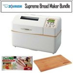 Zojirushi BB-CEC20 Home Bakery Supreme 2-Pound-Loaf Breadmaker with Deli Pro Kitchen Knife and Wusthof Bamboo Cutting Board BBCEC20WH/k1