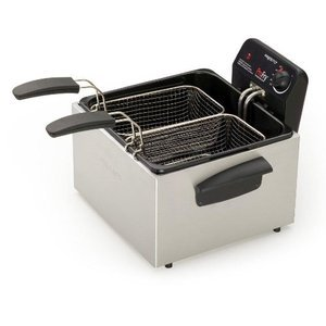 Presto Stainless Steel Dual Basket Pro Fry Immersion Element Deep Fryer