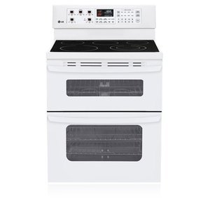LG Freestanding Electric Double-Oven Range Self Clean - white