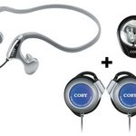 Coby Combo 3-in-1 Neckband Earphones, Ear Clip Headphones & Stereo Earphones, Silver