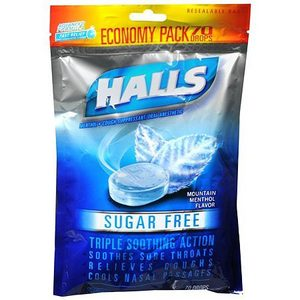 Halls Sugar Free Mountain Menthol Flavored Cough Drops