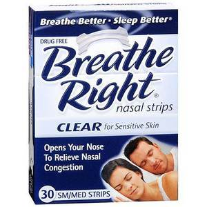 Breathe Right Nasal Strips - Clear for Sensitive Skin