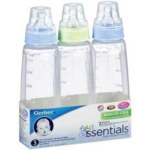 Gerber First Essentials Glass Bottles Silicone Nipple