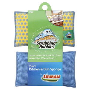 Libman Scrubbing Bubbles 2 In 1 Kitchen & Dish Sponge