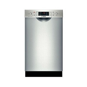 """Bosch SPE5ES55UC 500 Series 18"""" Undercounter Dishwasher With Stainless Steel EuroTub 46 dBA ActiveTab Tray Water Softener AquaStop Plus EcoSense Half Load Option: Stainless"""
