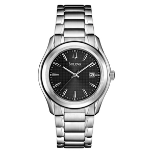 Bulova Men's Stainless Steel Patterned Grey Dial Watch.
