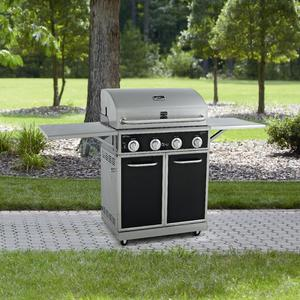 Kenmore Black 4 Burner Gas Grill With Folding Side Shelves and lit knobs