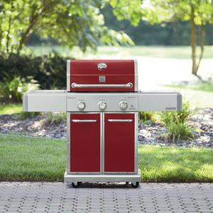 Kenmore Elite 550 Series 3 Burner Dual Fuel Vermillion Red Gas Grill