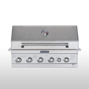 "KitchenAid 36"" 4-Burner Built In Gas Grill with Ceramic Main Burner and Rotisserie Burner"
