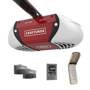 Craftsman ¾ HP Chain Drive Garage Door Opener with two Multi-Function Remotes, Keypad, and Motion Detecting Wall Control